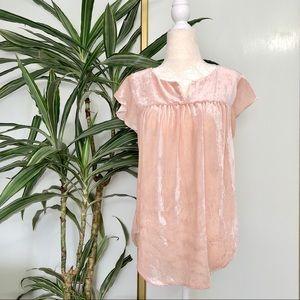 Loft Blush Pink Velvet V-neck Ruffle Sleeves Top